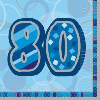 Blue Glitz Lunch Napkins - Age 80
